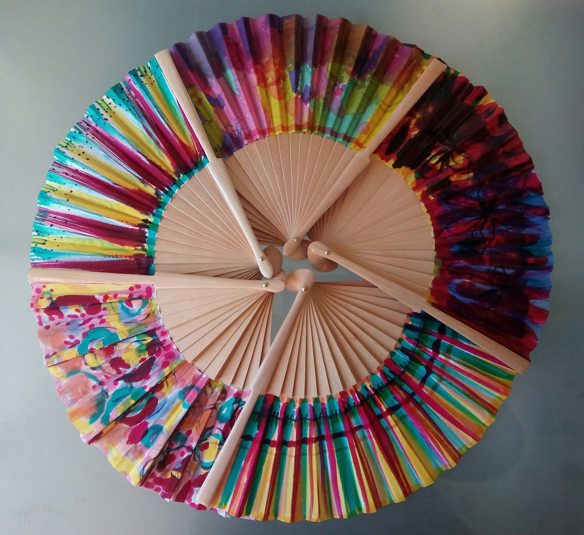 abanicos, diseño, creatividad, pintar